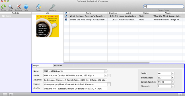 Convert  AA, M4B, M4A audio books to MP3 with Audible